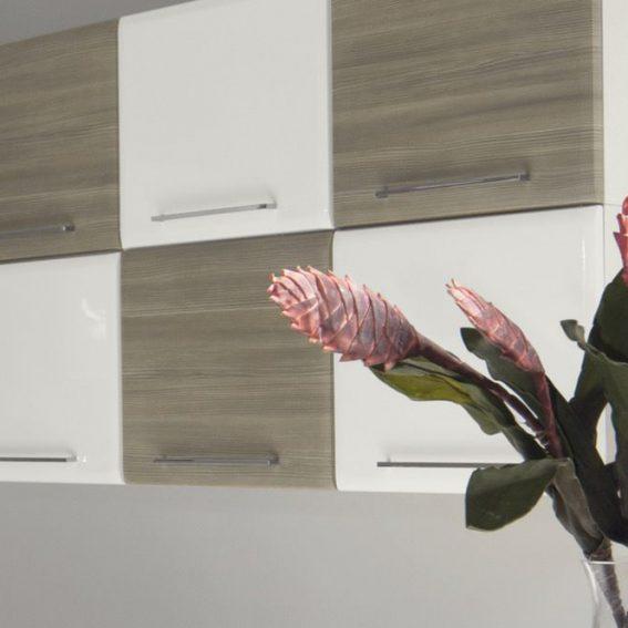 Cucina Moderna Ambra living a scacchiera bianco lucido grigio finitura gessata