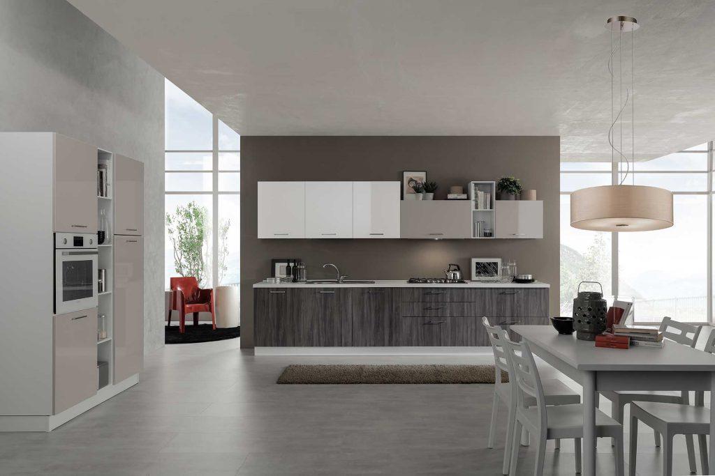 cucina Moderna cloe rovere grigio sabbia lucido bianco lucido