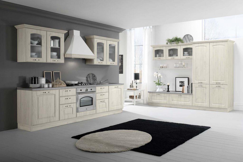 Cucina Classica Sofia con finitura bianco rustico