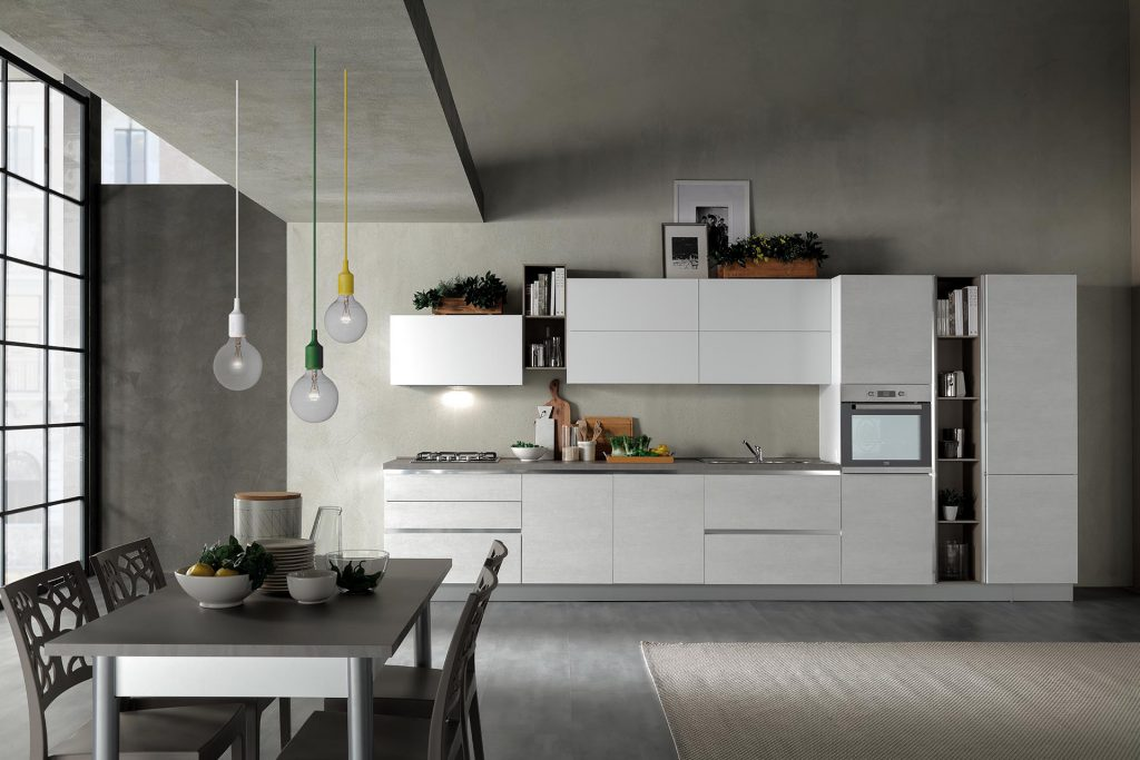 cucina Moderna delizia rovere ghiaccio bianco opaco