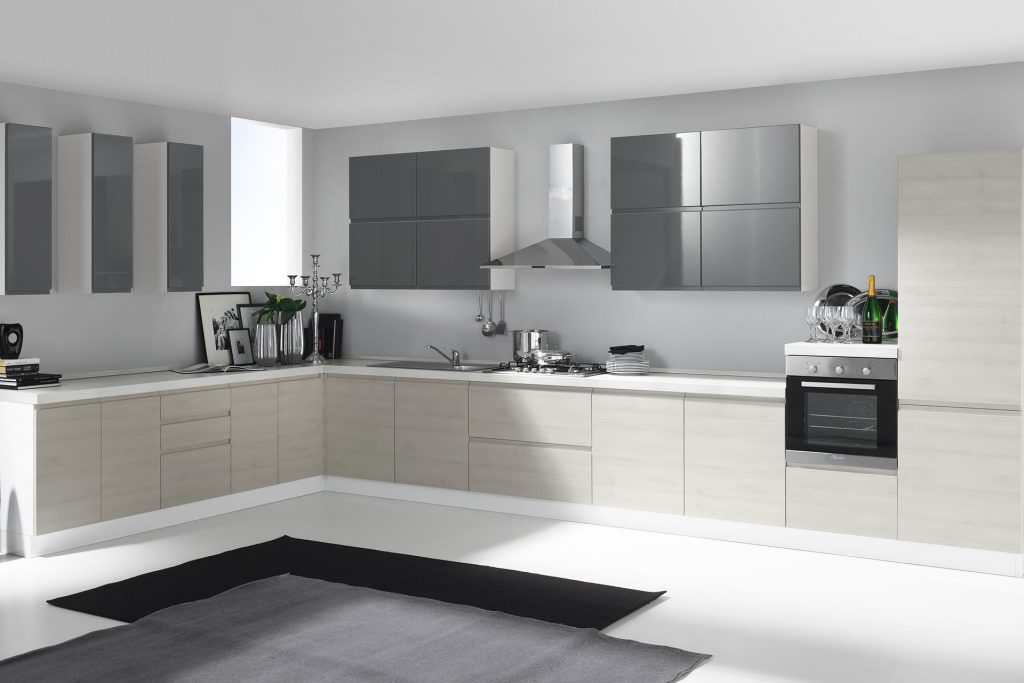 Cucina Moderna Kelly con finitura ghiaccio tranché e antracite lucido