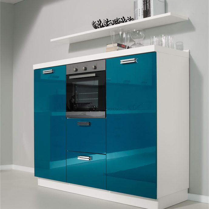 Cucina moderna Kira colonne h 148 cm con frigorifero monoporta forno e dispensa