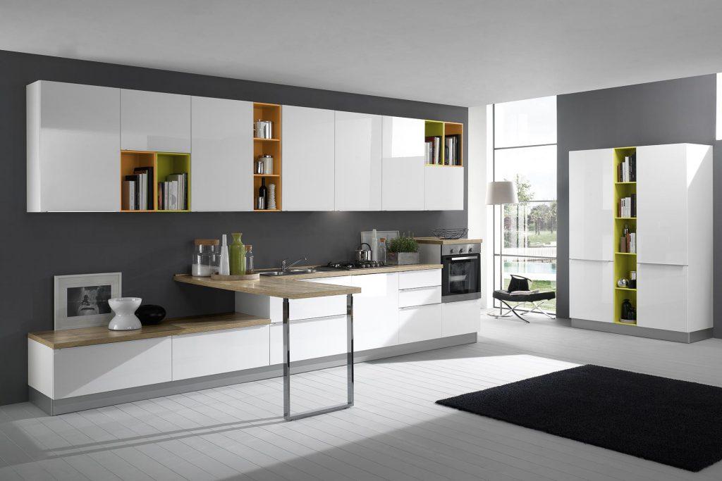 Cucina Moderna Mia con finitura bianco lucido